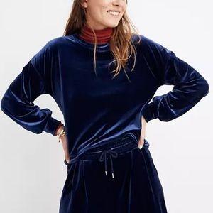 Madewell NWT Blue Velvet Balloon-Sleeve Sweatshirt